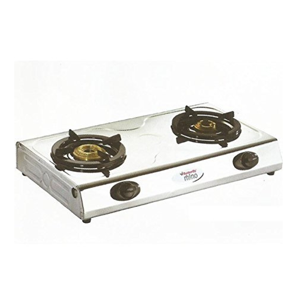 Butterfly Rhino Stainless Steel 2 Burner Gas Stove - Silver